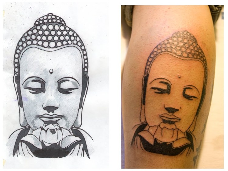 Marvel Grey Color Ink Buddha Head Tattoo Image On Leg For Boys
