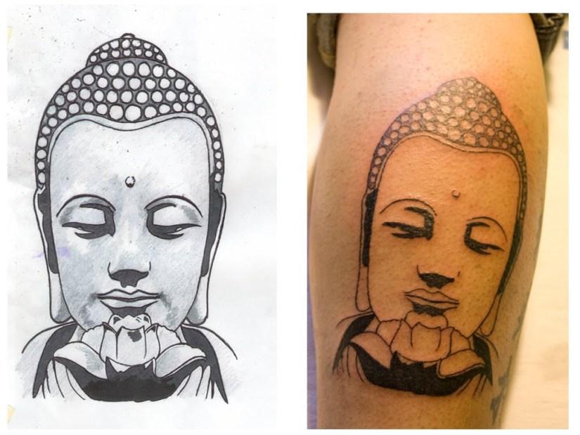 Marvel Grey Color Ink Buddha Head Tattoo Image On Leg For Boys