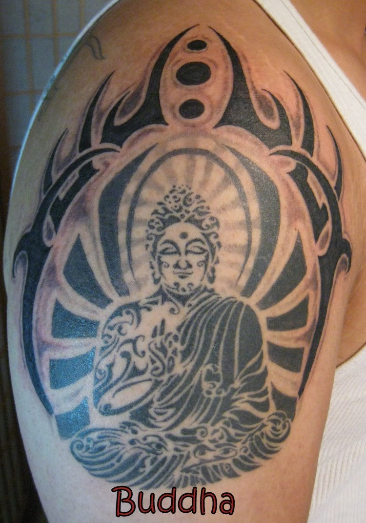 Marvelous Black And Grey Color Ink Buddha Tattoo Design On Arm For Boys