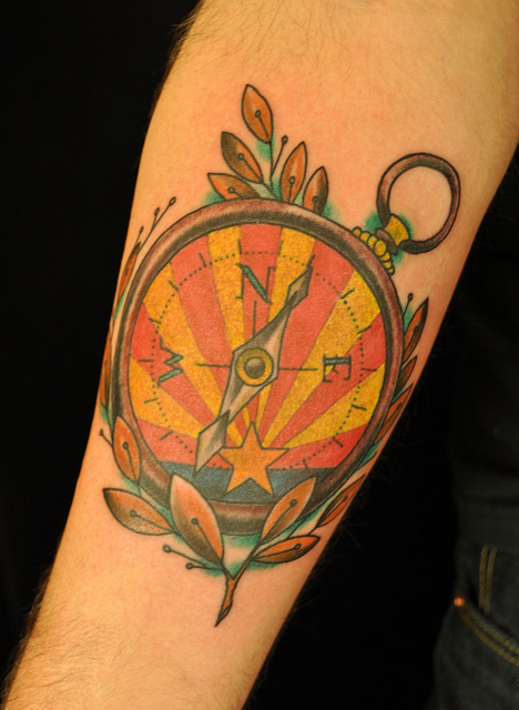 Marvelous Yellow Blue Red And Black Color Ink Compass Tattoo Design For Boys