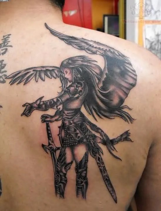 Mind Blowing Black And Grey Color Ink Angel Tattoo On Right Back Shoulder For Boys