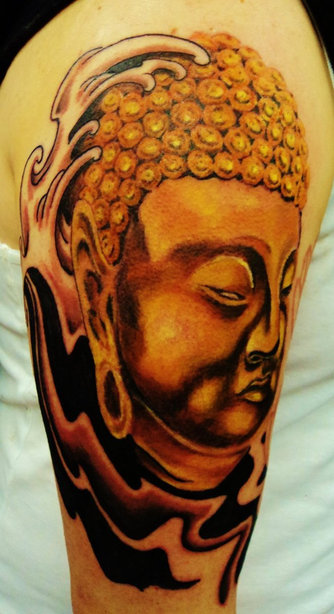 Mind Blowing Black And Red Color Ink Buddhist Tattoo On Shoulder For Boys