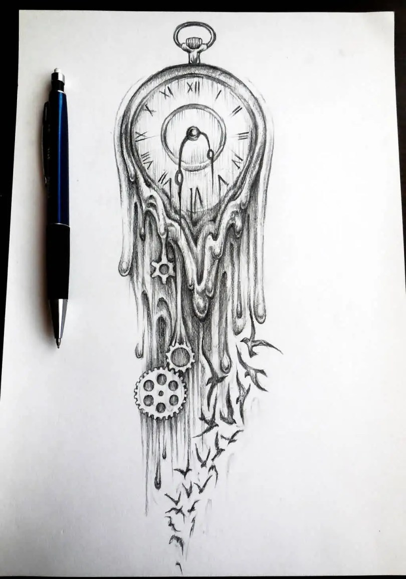 Mind Blowing Black Color Ink Melting Clock And Bird Tattoos Sketch For Girls