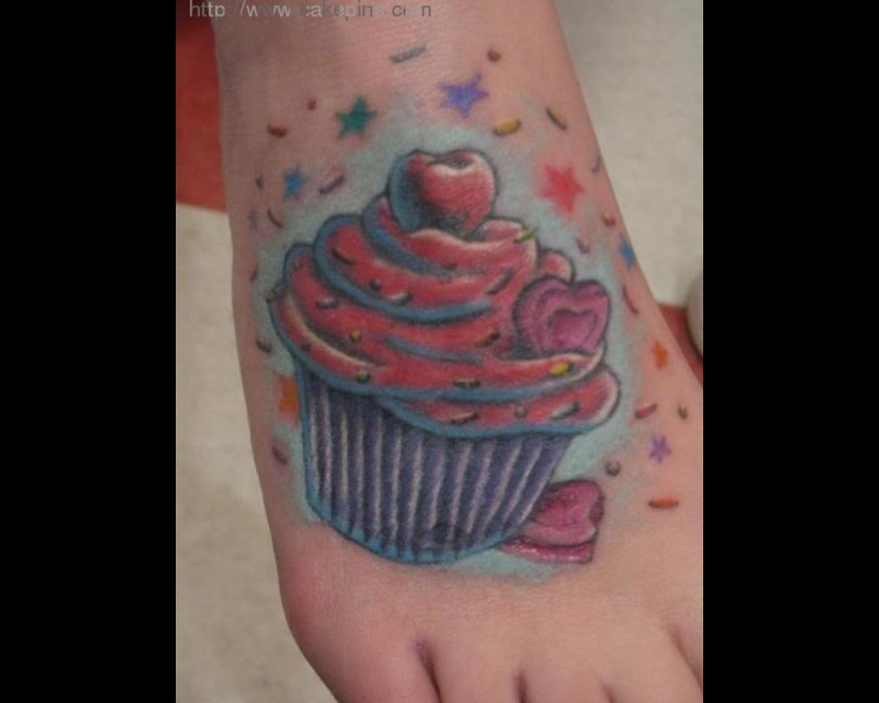 Mind Blowing Blue Black And Red Color Ink Cup Cake Tattoo On Foot For Girls