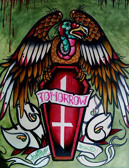 Mind Blowing Green Blue Black And Red Color Ink Tomorrow Coffin Tattoo Design For Boys