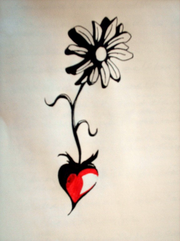 Mind Blowing Red And Black Color Ink Daisy Tattoo Concept For Girls