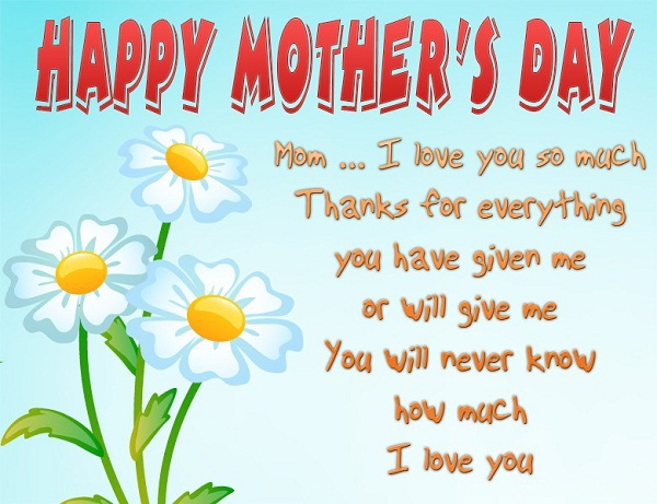 Mom I Love You Happy Mothers Day Wishes Message