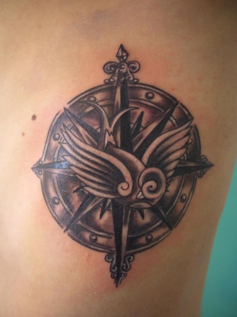 Most Beautiful Black Color Ink Bird Compass Tattoo Design For Girls