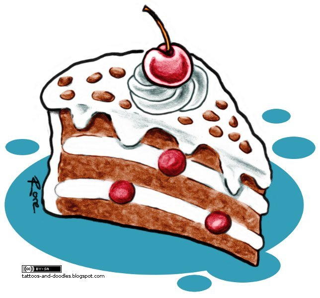 Most Beautiful Brown White Black And Red Color Ink Black Forest Cake Tattoo Design For Boys