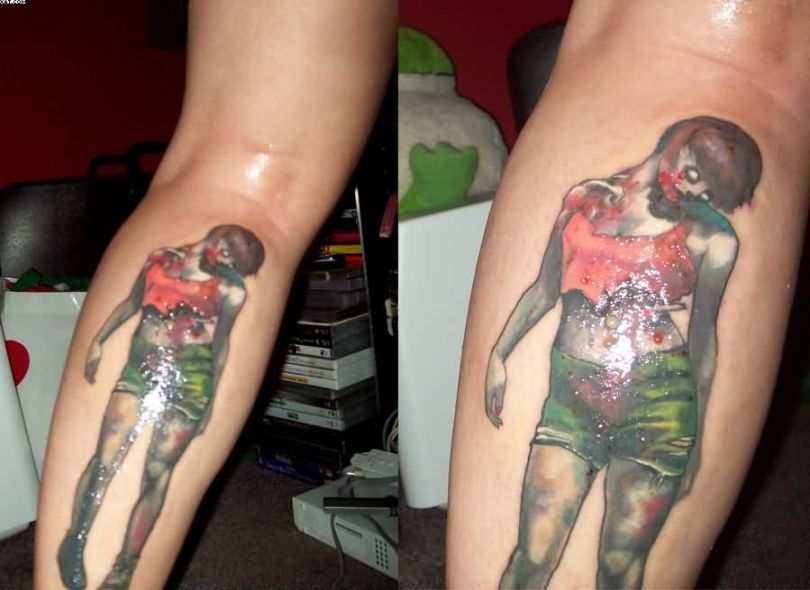Most Cool Evil Zombie Pin Up Girl Tattoos On Forearm With Colorful Ink