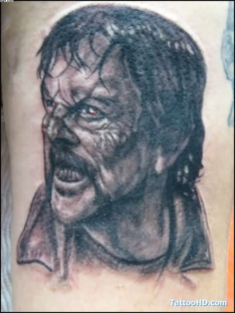 Most Famous Black And Grey Zombie Face Tattoo