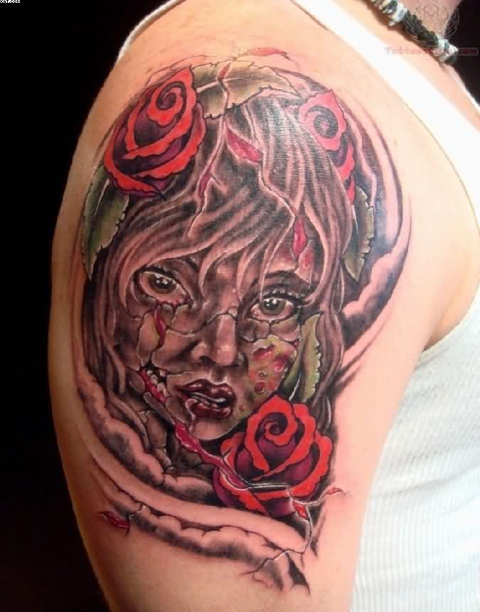 Most Great Zombie Girl Face Tattoo On Biceps With Colorful Ink