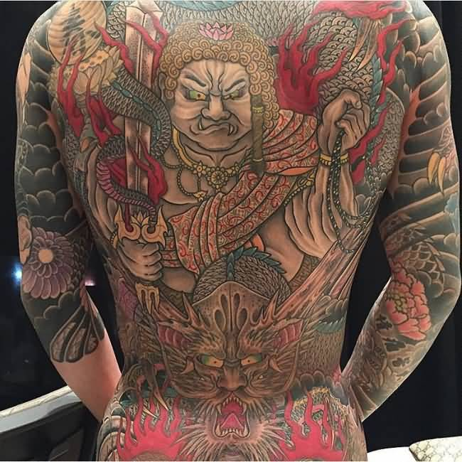Most Incredible back tattoo with colorful ink for man and woman