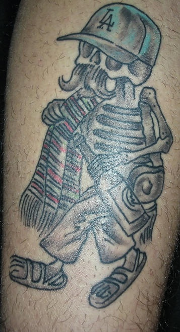 Motivational Black And Blue Color Ink Mexican Skeleton With Grey Bottle Tattoo On Leg For Boys