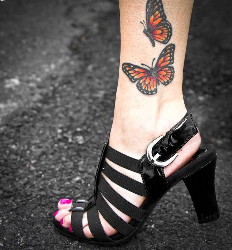 Motivational Black And Red Color Ink Butterfly Ankle Tattoo Pictures For Girls