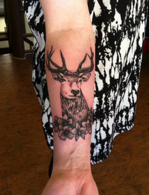 Motivational Black And Red Color Ink Deer n Flowers Tattoo On Forearm For Girls