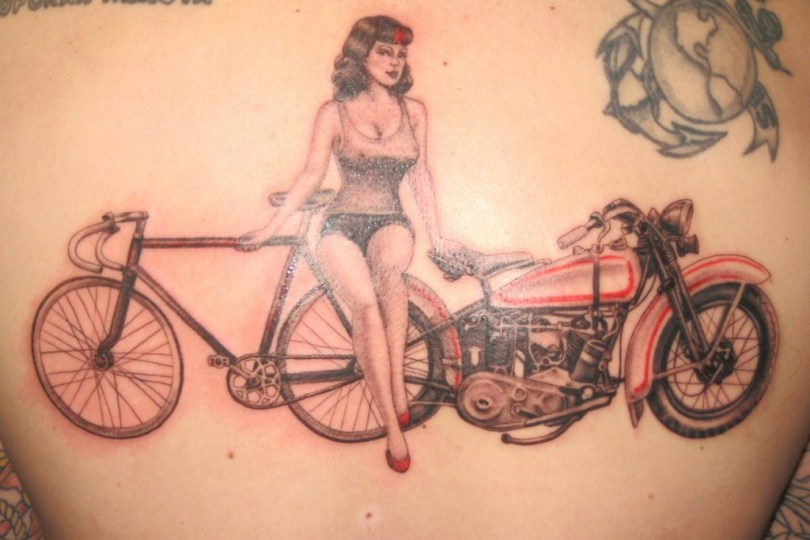 Motivational Black And Red Color Ink Girl With Bicycle & Bike Tattoo Design For Boys