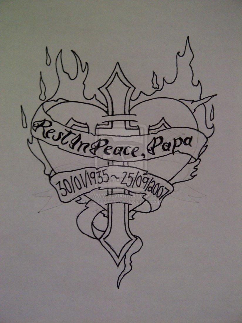 Motivational Black Color Ink Heart Cross Outline Tattoo Design For Girls