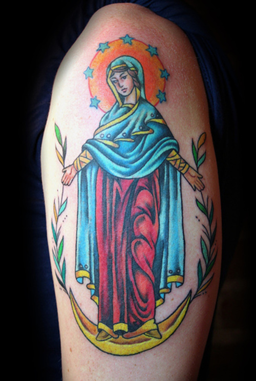 Motivational Blue Red And Black Color Ink Christian Virgin Mary Tattoo On Biceps For Girls