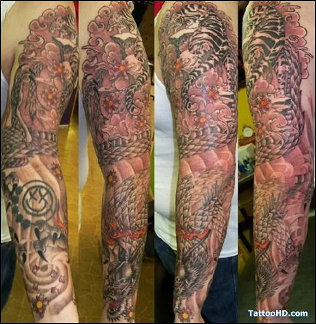 Motivational Red And Black Color Ink Full Sleeve Chinese Tattoo Design For Boys