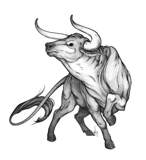 Nice Black And White Color Bull Tattoo Design For Girls