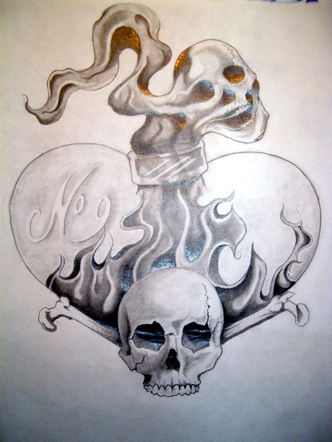 Nice Black And White Color Ink Flaming Heart Shape Bottle And Skull Tattoo Design For Boys