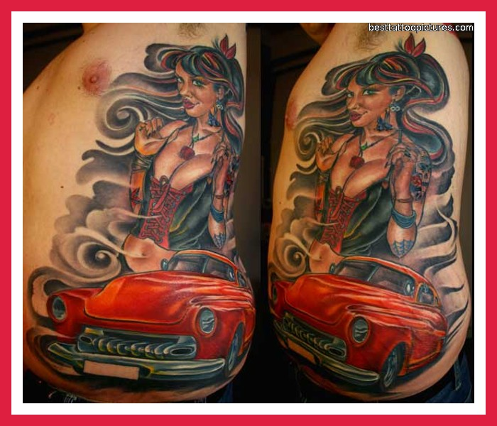 Nice Blue Black And Red Color Ink Car Tattoo Image On Rib For Boys
