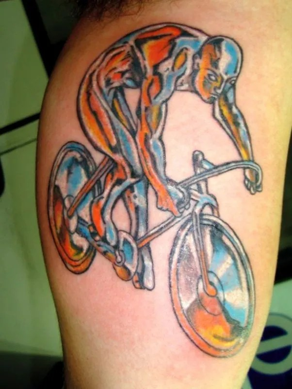 Nice Blue Black And Red Color Ink Cycle Tattoo Design For Boys