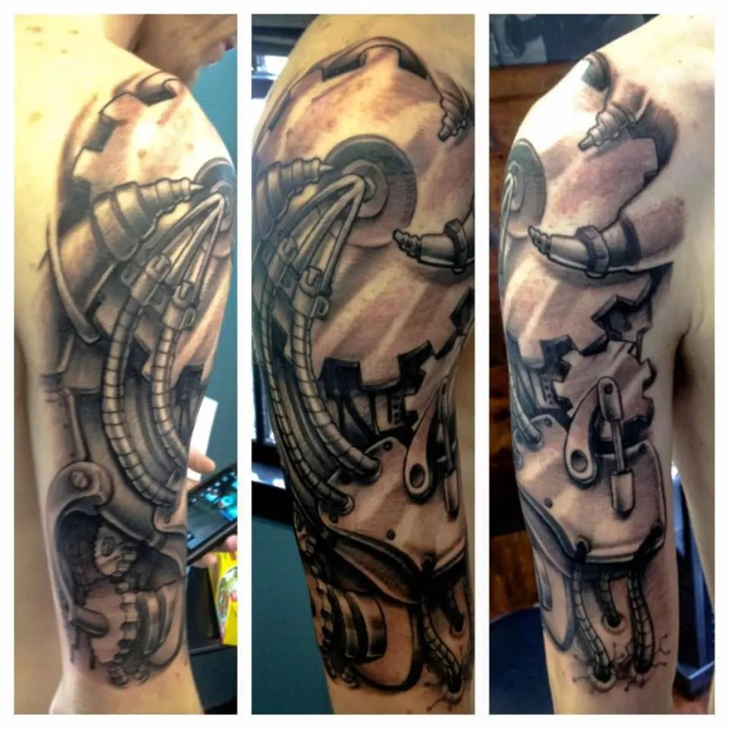 Nice Grey Color Ink Biomechanical Sleeve Tattoo Image For Boys