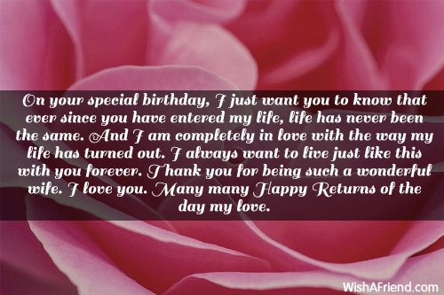 On Your Special Birthday Many Happy Returns Of The Day May Lovely Wife Quotes