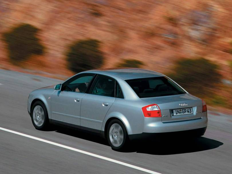 On the road of silver beautiful Audi A4 Car