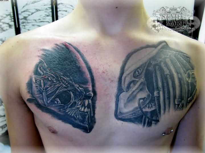 Out Standing Grey Color Ink Angry Alien Tattoo On Chest For Boys