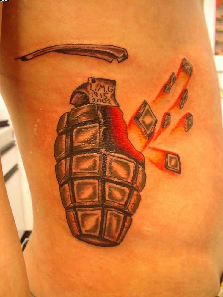 Passionate Black And Red Color Ink Army Grenade Tattoo On Rib For Boys