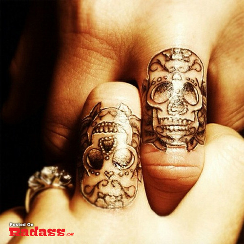 Passionate Black Color Ink Matching Sugar Skull Couple Tattoo Design For Couple