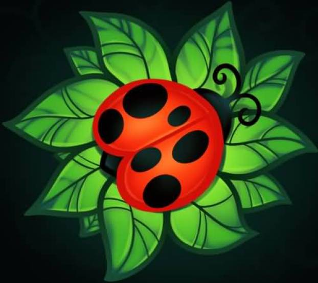 Passionate Black Green And Red Color Ink Lady Bug With Grean Leaf Tattoo For Boys