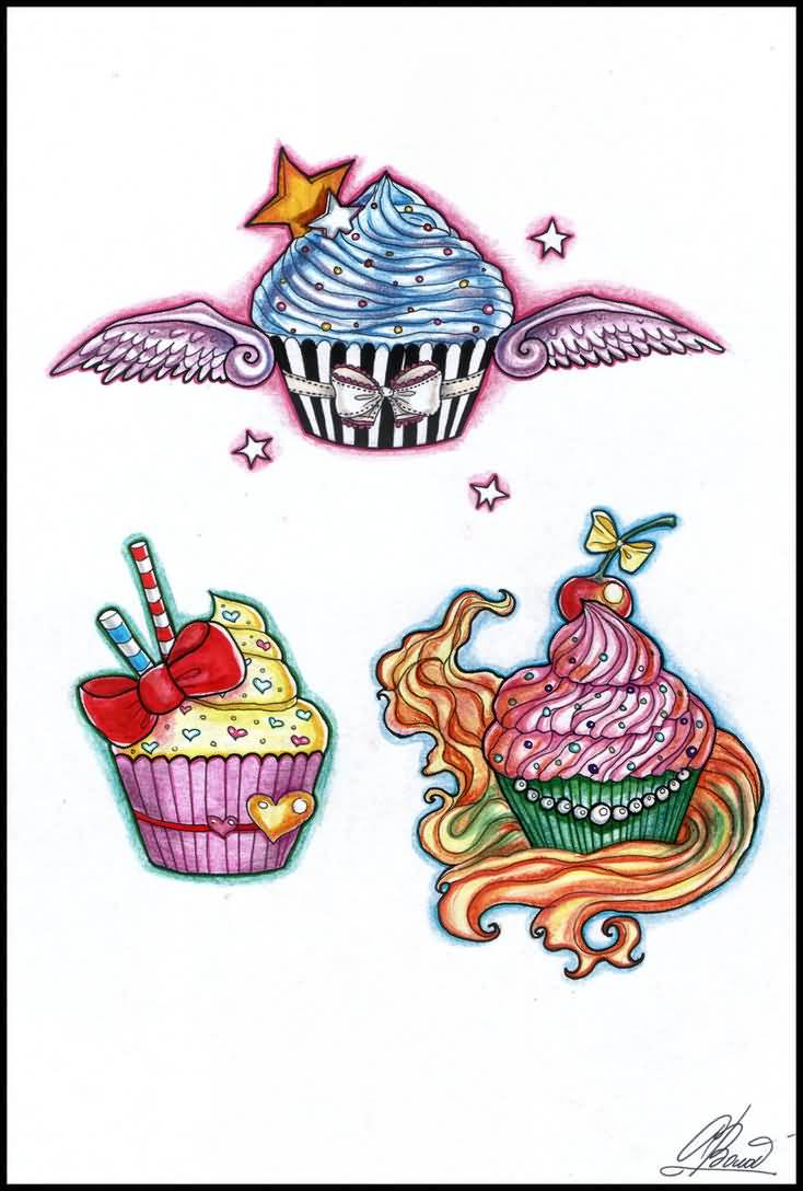 Passionate Blue Green Black And Red Color Ink Cup Cake Tattoo Designs For Boys