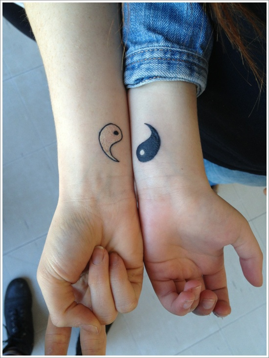 Perfect Black Color Ink Couple Yin Yang Tattoo Design For Couple