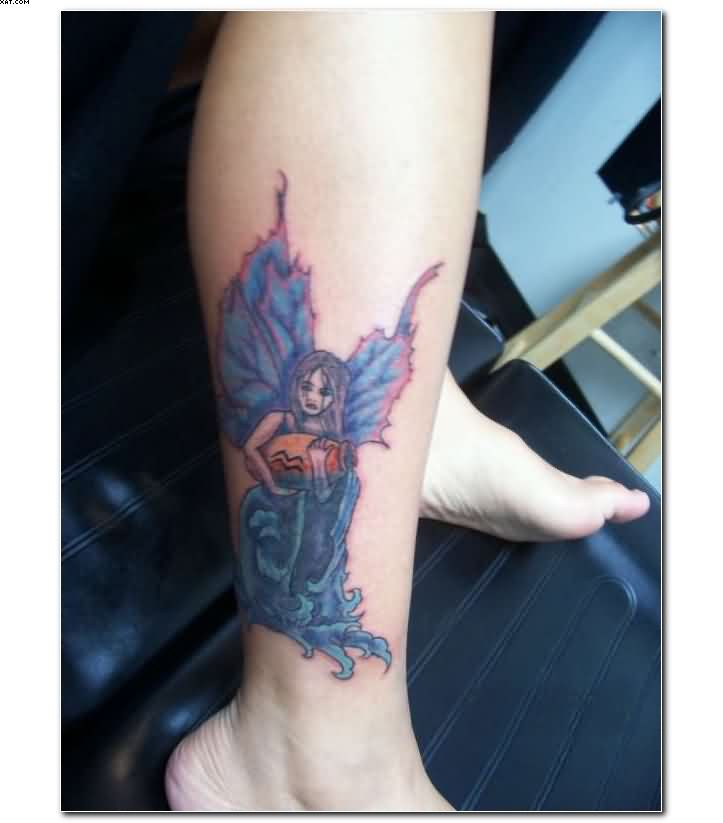 Perfect Blue And Red Color Ink Aquarius Tattoo Designs On Ankle For Girls