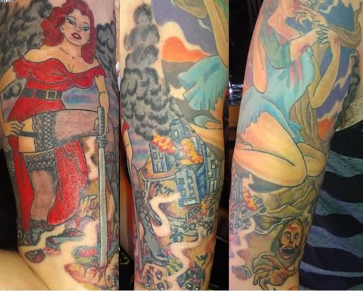 Phenomenal Colorful Half Sleeve Pin Up Zombie Tattoos On Arm With Colorful Ink