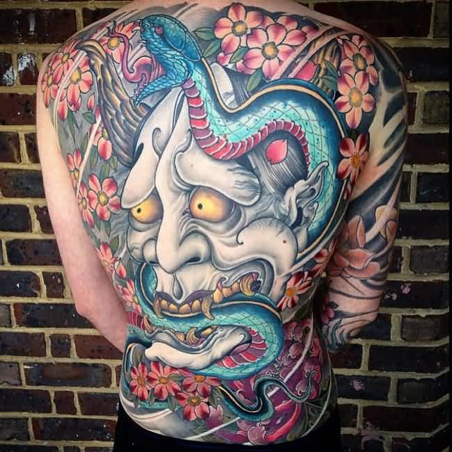 Phenomenal back tattoo with colorful ink for man and woman