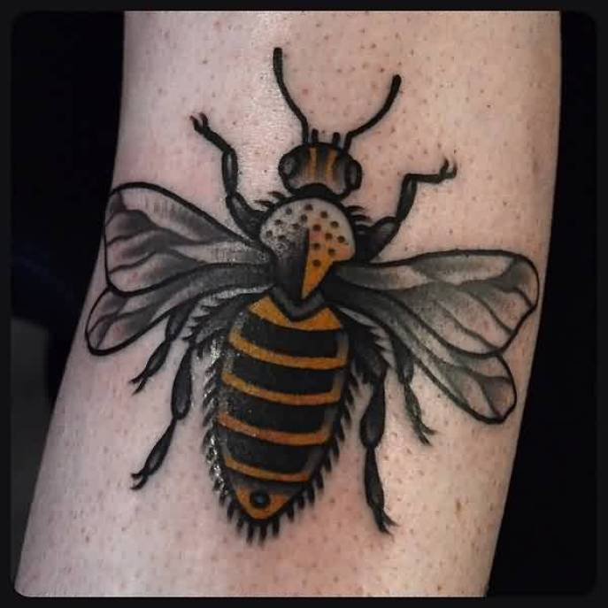 Popular Black And Yellow Color Ink Bumblebee Tattoo On Leg For Girls