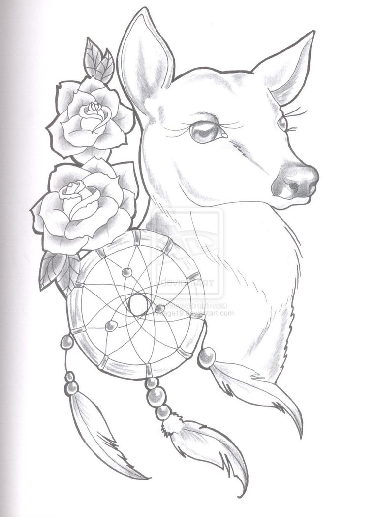 Popular Black Color Ink Deer n Dream catcher Tattoo Sketch For Boys