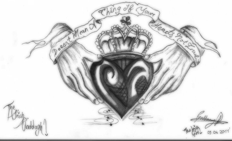 Popular Black Color Ink The Irish Claddagh Tattoo Design For Girls