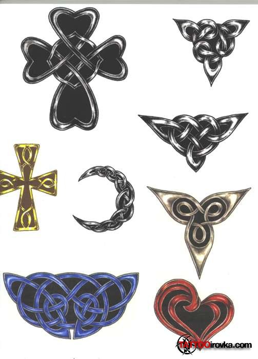 Popular Black Red And Yellow Color Ink Celtic Cross Tattoo Designs For Girls Hands
