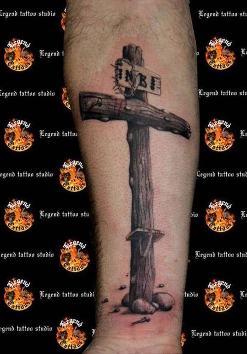 Popular Red And Black Color Ink Christian Cross Tattoo On Arm For Boys