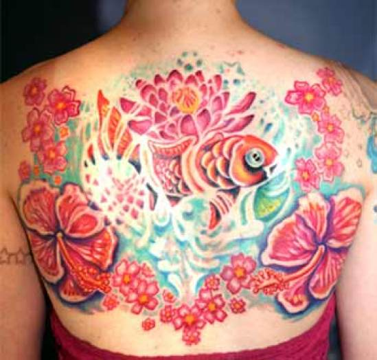 Popular Red And Blue Black Color Ink Asian Fish Tattoo On Back For Gris