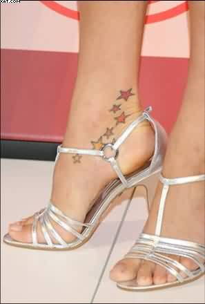 Popular Red And Yellow Color Ink Petra Nemcova Ankle Tattoo On Girl's Foot For Girls
