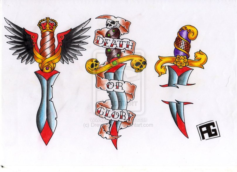 Realisitc Blue Yellow Red And Black Color Ink 3 Dagger Tattoo Designs For Girls