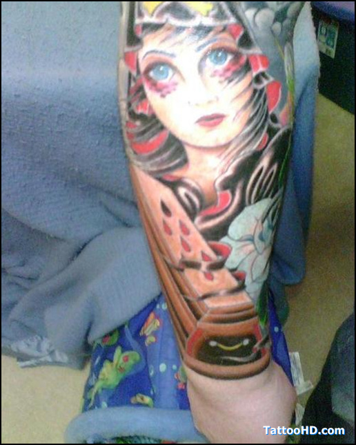 Realistic Blue Black And Red Color Ink Girl & Coffin Tattoo Design For Girls