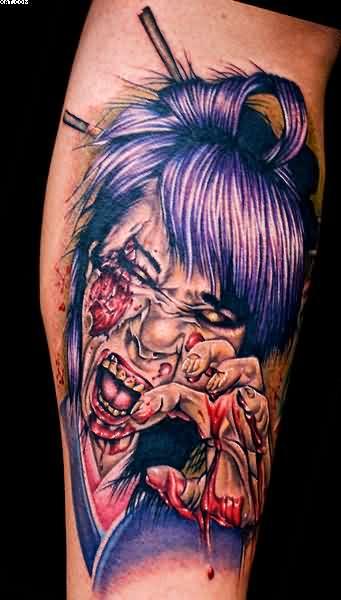 Realistic Zombie Geisha Tattoo